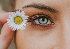 אישה מחזיקה פרח בקרבת הפנים