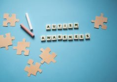 אותיות מסודרות אשר יוצרות את המילה אוטיזם